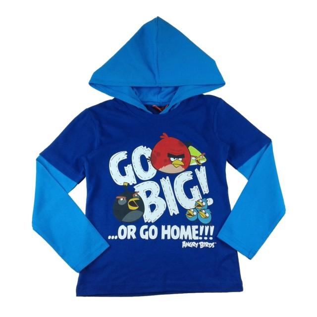 Bluza copii Angry Birds albastru bumbac (Masura 140 (9-10 ani))