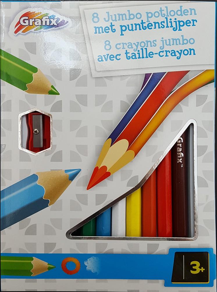 Set 8 creioane colorate jumbo si ascutitoare