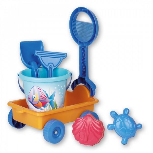 Carucior plastic cu accesorii plaja pentru copii