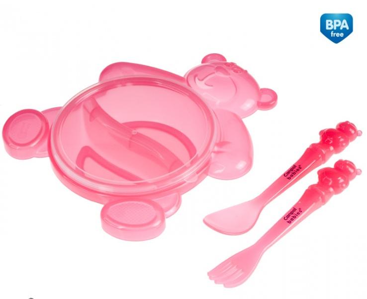 Castron ursulet cu tacamuri si capac Roz din categoria Alimentatie de la CANPOL