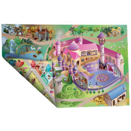 Covoras de Joaca Imprimeu Dublu Ecomat - Castel Princess si Echitatie