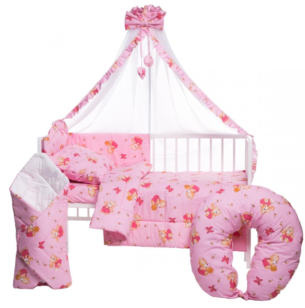 Lenjerie patut cu 10 piese Honey Bear Pink