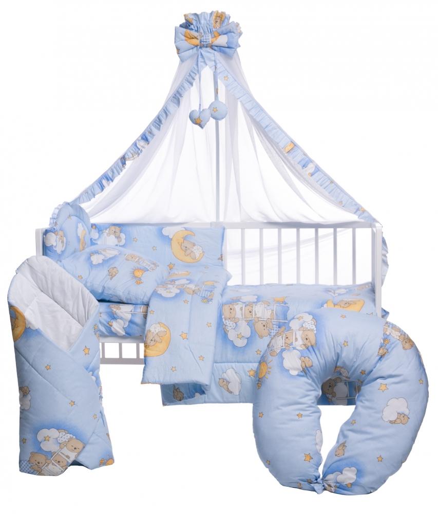 Lenjerie patut cu 10 piese Ursuletul somnoros Albastru
