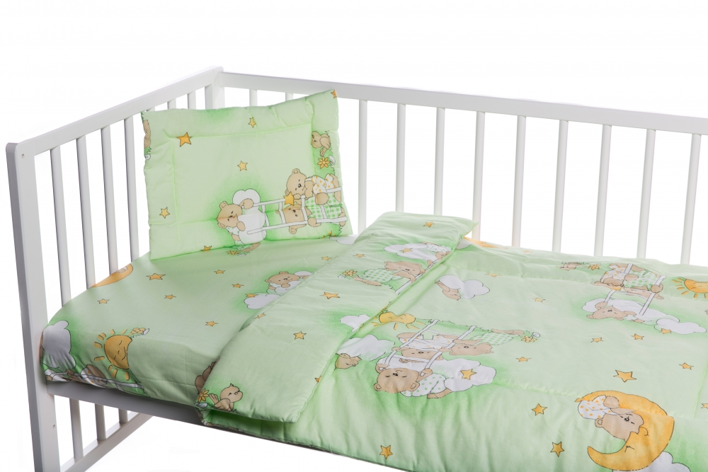 Lenjerie patut cu 3 piese Ursuletul somnoros Verde imagine