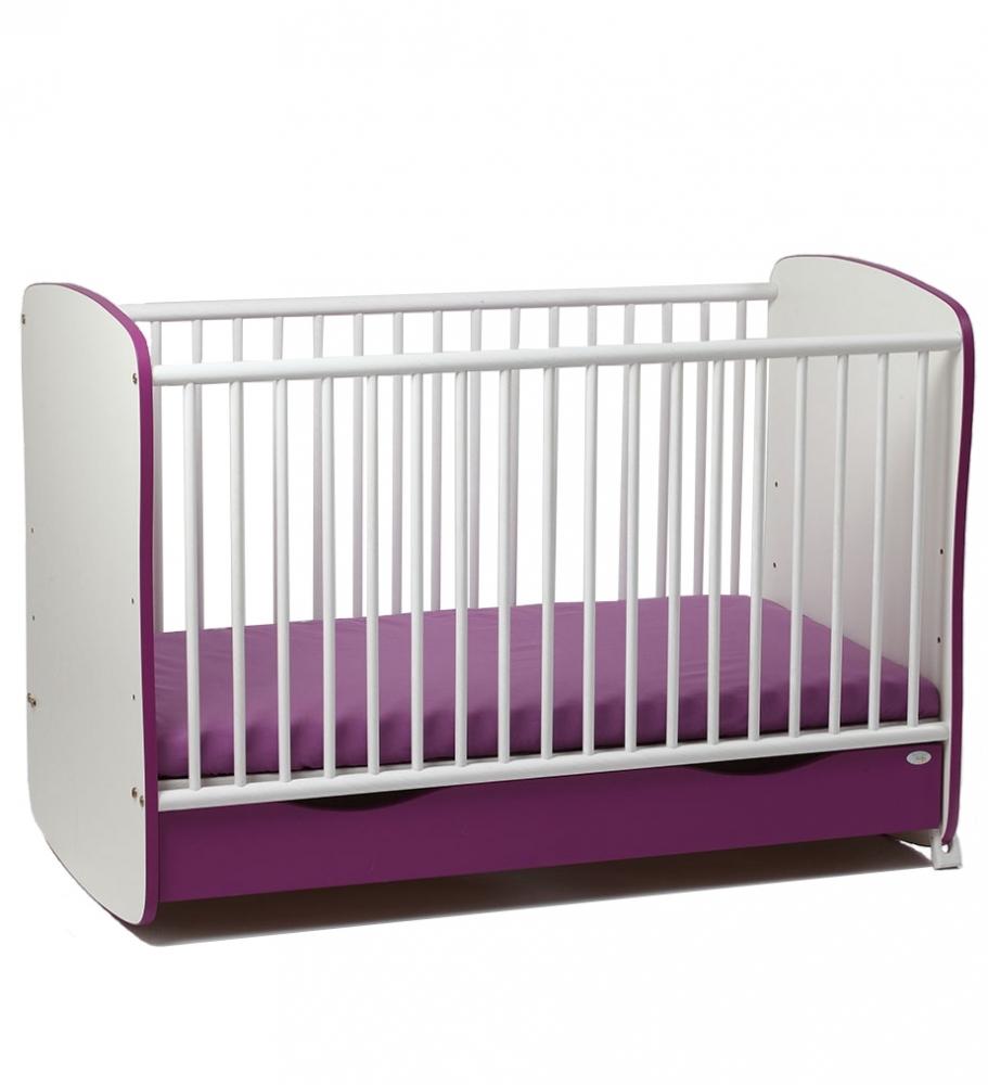 Patut din lemn cu sertar si sistem de leganare Purple