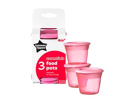 Recipiente de stocare hrana cu capac x 3 buc Roz
