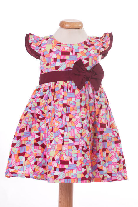Rochita de fetite cu imprimeu cu figuri geometrice (Masura 68 (3-6 luni))