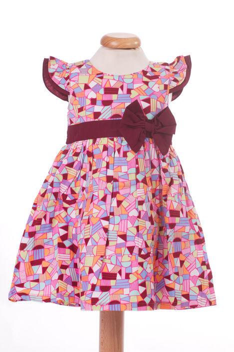 Rochita de fetite cu imprimeu cu figuri geometrice (Masura 92 (1.5-2 ani))
