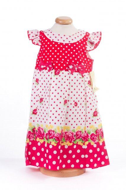 Rochita fetite cu buline si imprimeu floral (Masura 104 (3-4 ani))