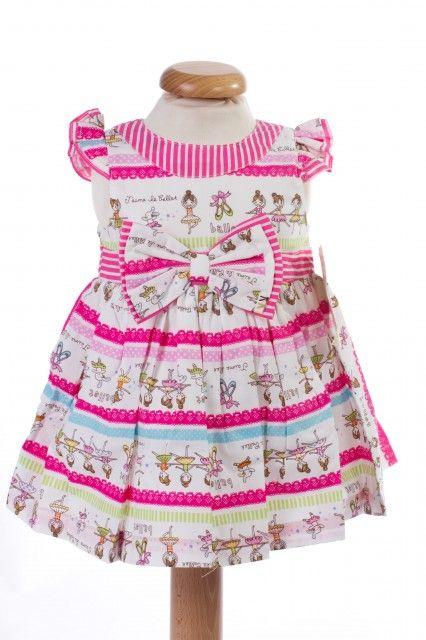 Rochita roz de fetite cu imprimeu cu balerine (Masura 68 (3-6 luni))