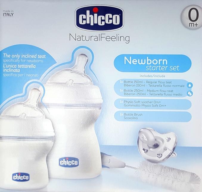 Set cadou Chicco Natural Feeling 0luni+ (un biberon 0+, un biberon 2+, o suzeta silicon, o perie biberon)
