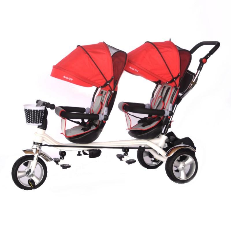 Tricicleta pentru doi copii Skutt Esseda Duo Red