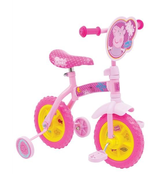 Bicicleta copii Peppa Pig 10 inch 2 in 1 cu si fara pedale