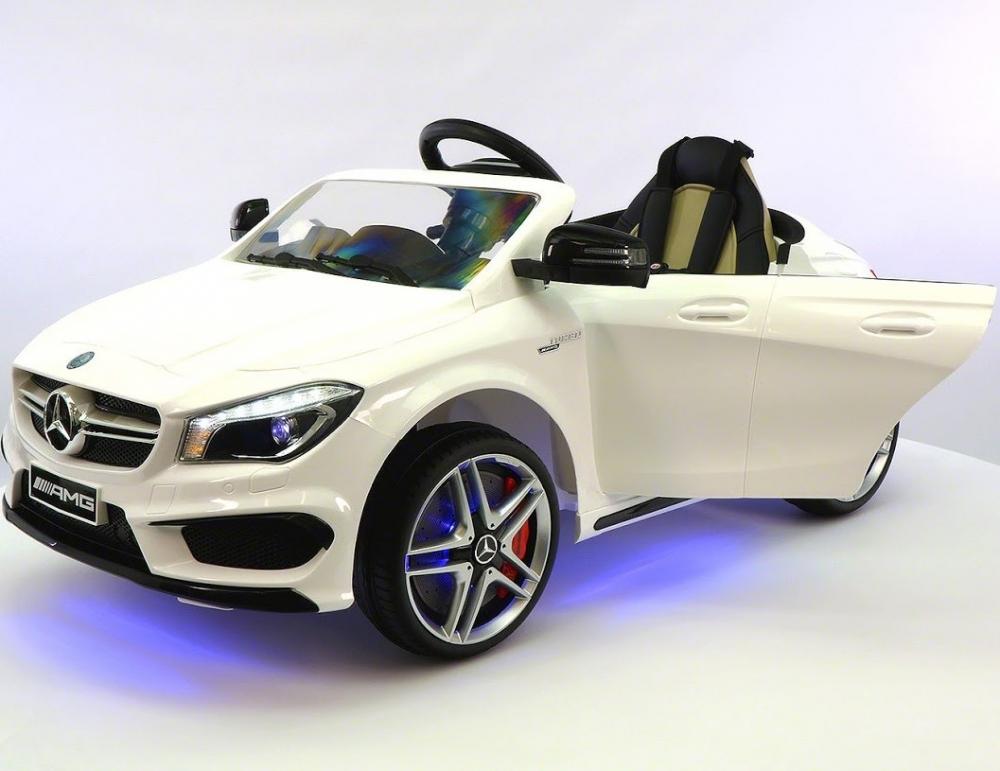 Masinuta electrica cu telecomanda si roti eva Mercedes CLA45 12V Alba
