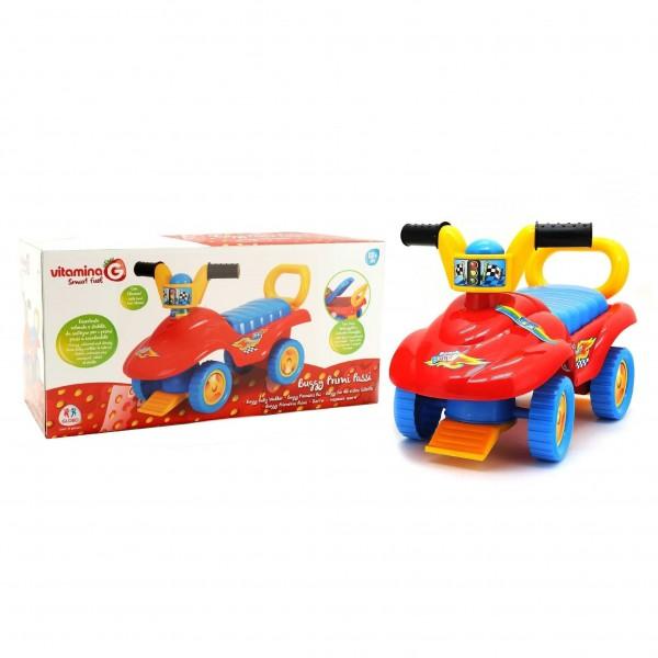 Masinuta pentru copii de impins interactiva Buggy multicolora cu portbagaj