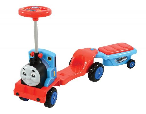 Masinuta pentru copii de impins Locomotiva Thomas 3 in 1 trotineta cu remorca
