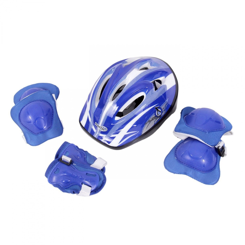 Set casca 55 cm si protectii coate, genunchi si brate Albastru