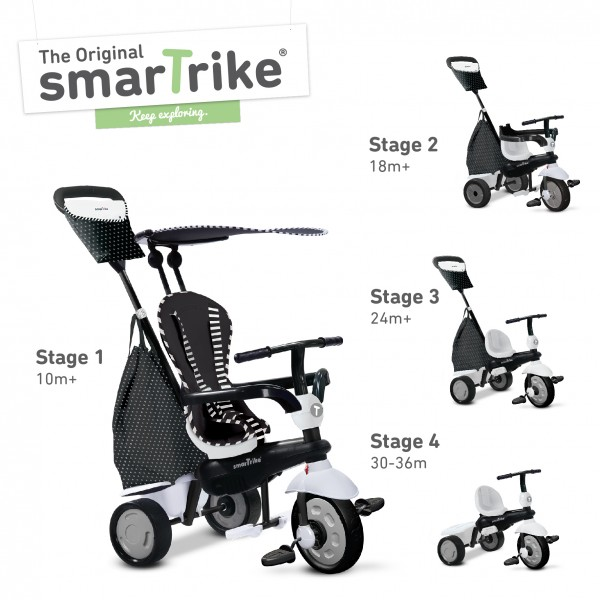 Tricicleta Smart Trike Glow 4 in 1 Black White