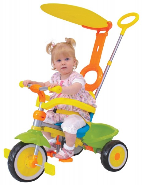 Tricicleta copii Deluxe Grow multicolora cu control parental