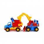 Camion cu basculanta si excavator Wader