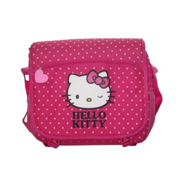 Geanta de umar dreptunghiulara Hello Kitty roz Pigna si minge cadou