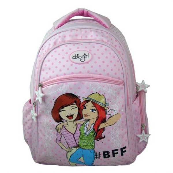 Ghiozdan clasel I-IV fete Chic Girl alb cu buline roz Pigna si minge cadou