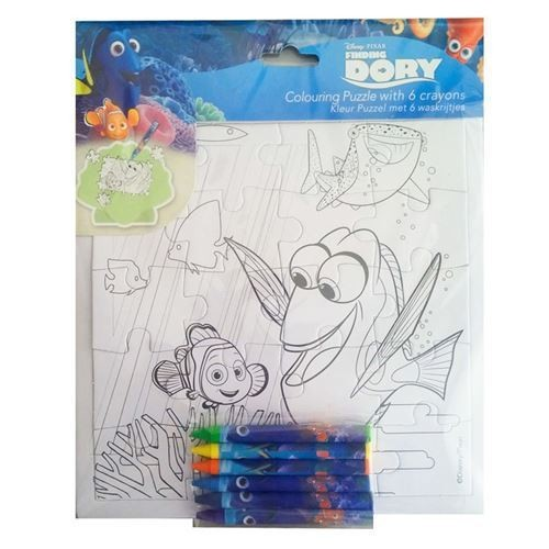 Puzzle de colorat cu 6 creioane 21x21 Finding Dory