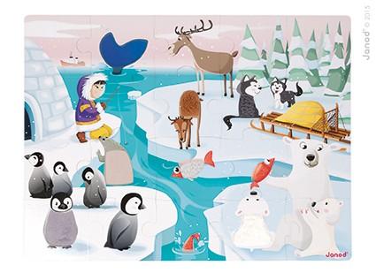 Puzzle tactil - Mediul polar (20 de piese)