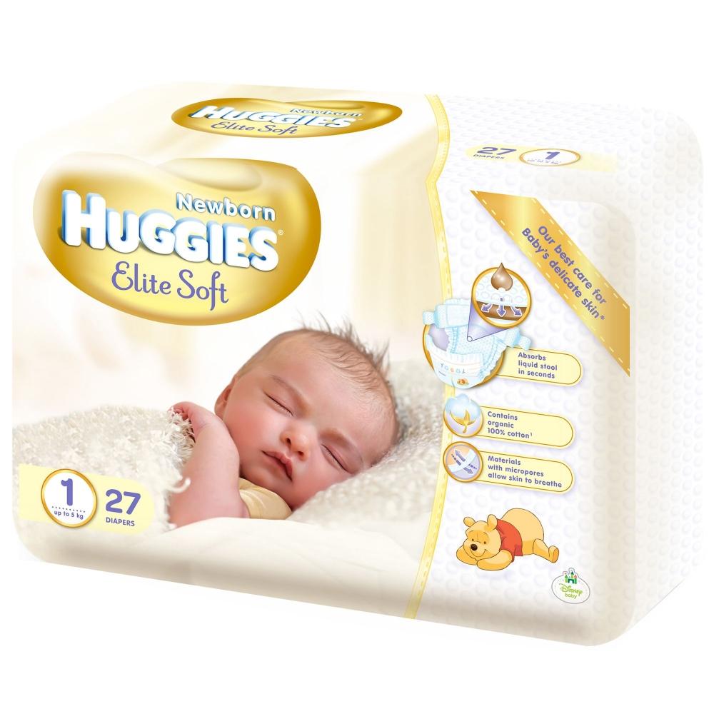 Scutece Huggies Elite Soft 1, pana la 5 kg, 27 buc