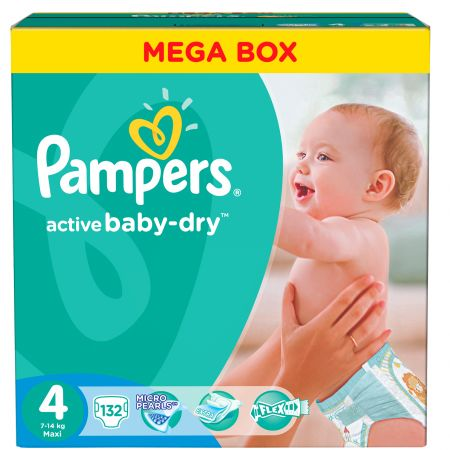 Scutece Pampers Active Baby 4 Maxi Mega Box 132 buc