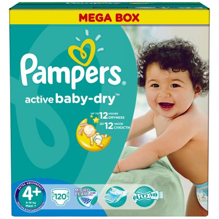 Scutece Pampers Active Baby 4 Maxi Plus Mega Box 120 buc