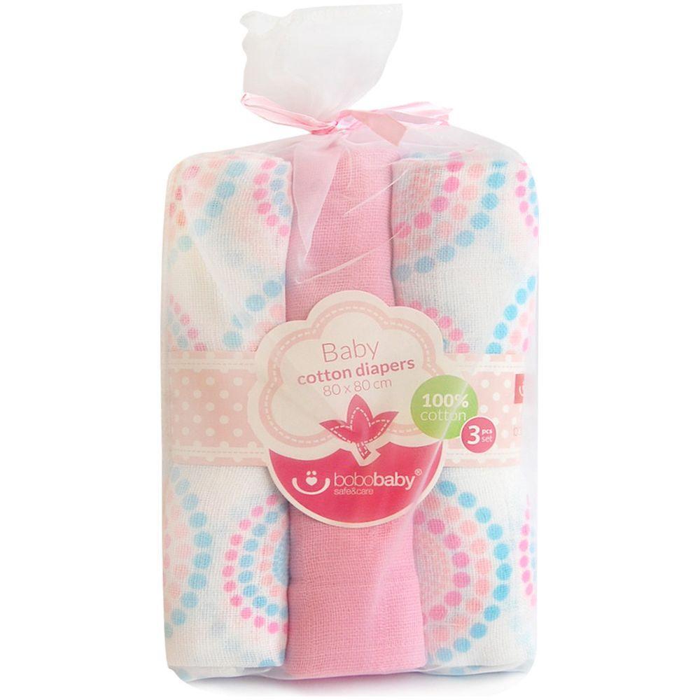 Scutece textile pentru bebelusi 3 buc Bobobaby Roz cu Buline