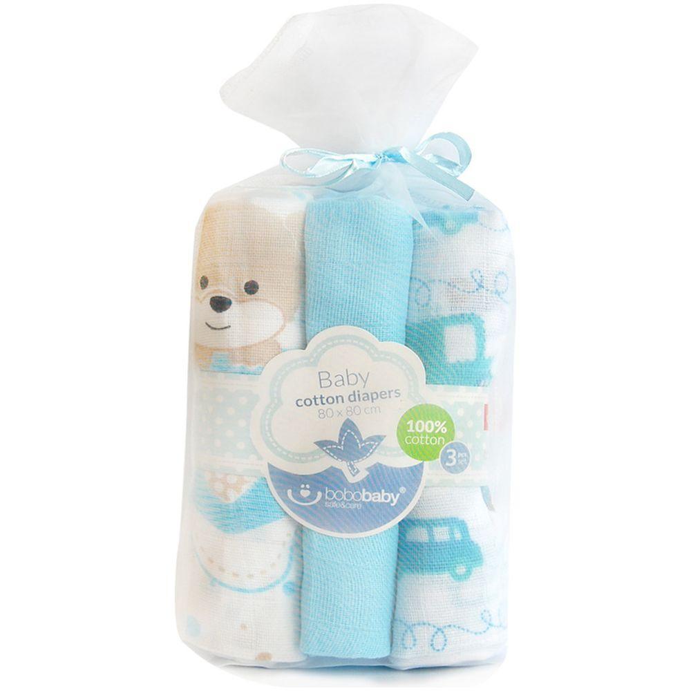 Scutece textile pentru bebelusi Mis 3 buc Bobobaby Albastru