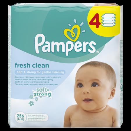 Servetele umede Pampers Fresh Clean Baby 4 pachete 256 buc