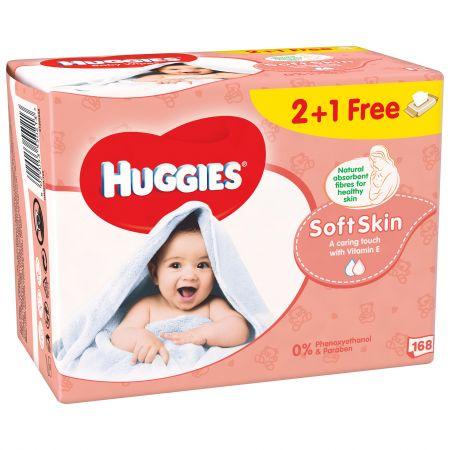 Set 3xServetele umede Huggies Soft Skin 56buc