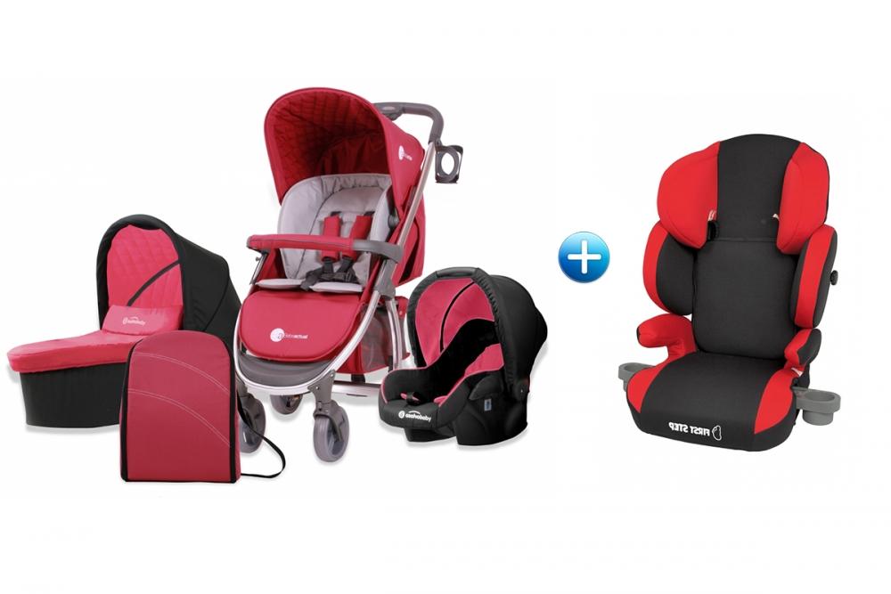 Carucior 3 in 1 Trio Roma Rojo+Scaun auto Maxi Travel