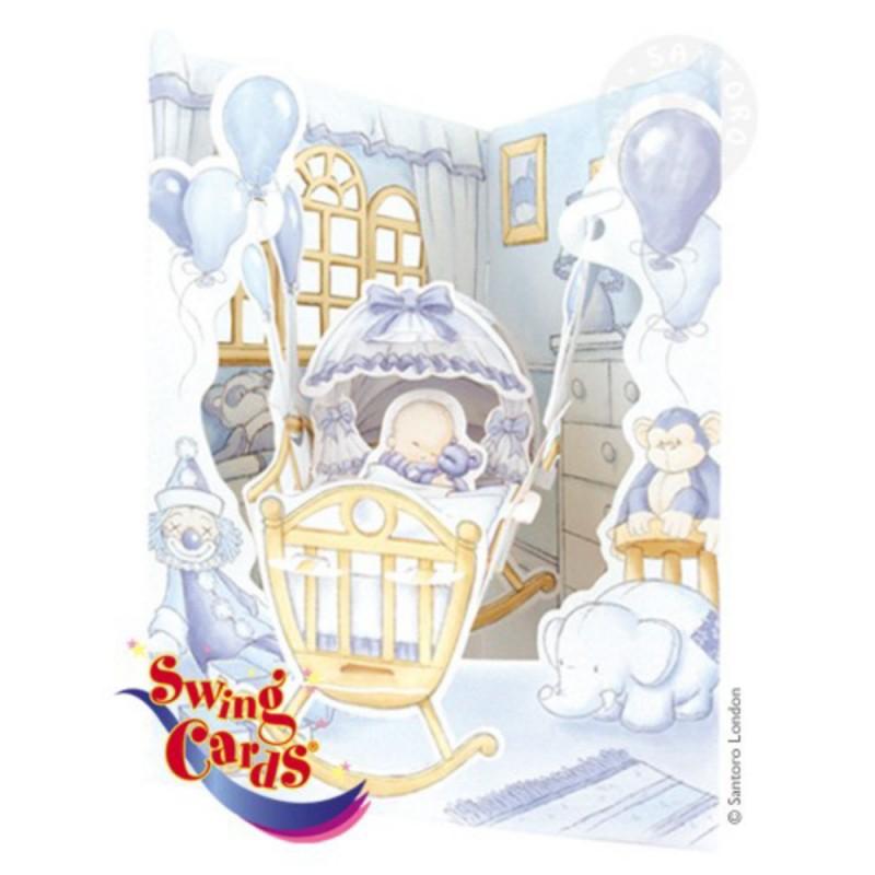 Felicitare 3D Baietel in leagan-Swing Cards