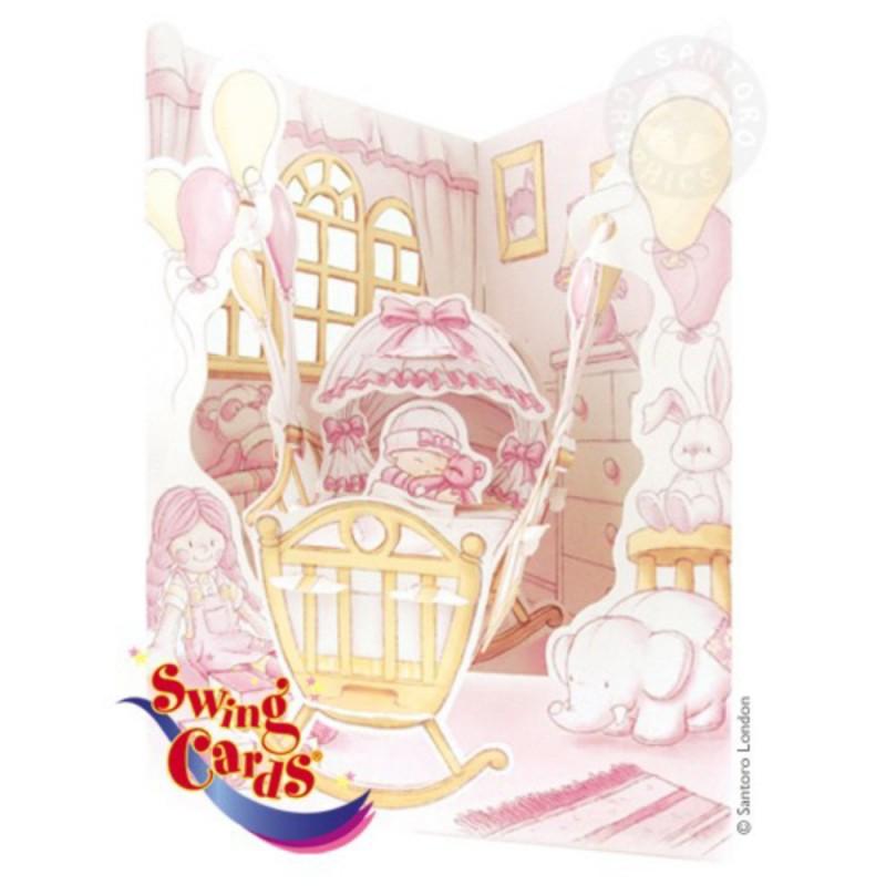 Felicitare 3D Fetita in leagan-Swing Cards