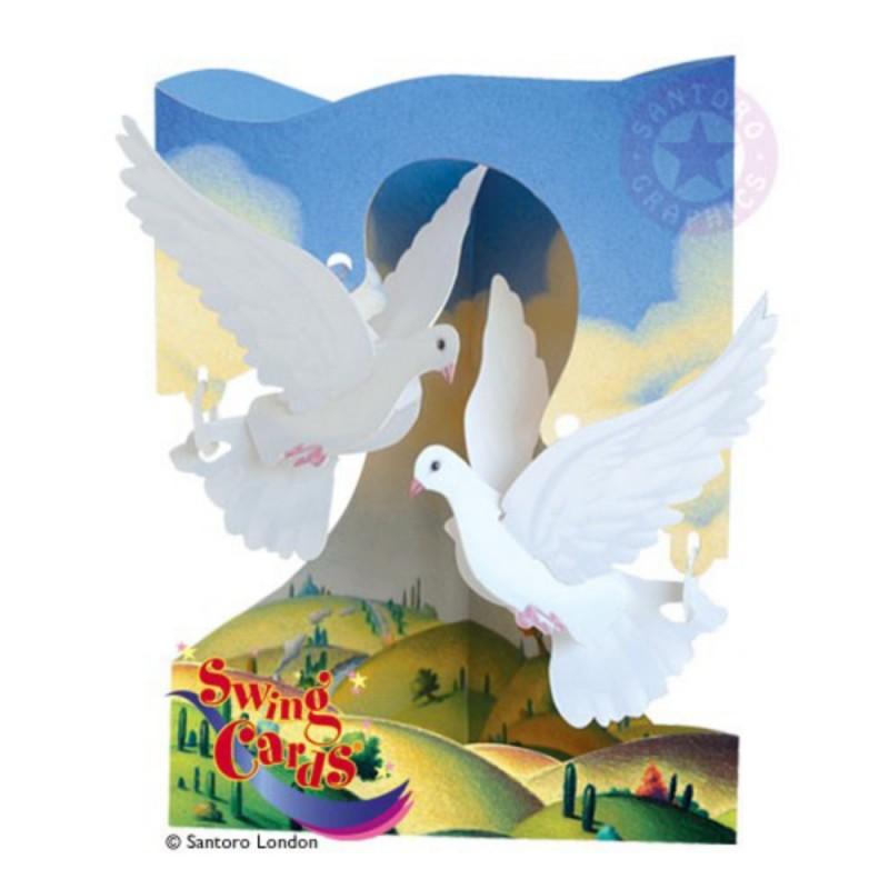 Felicitare 3D Porumbei-Swing Cards