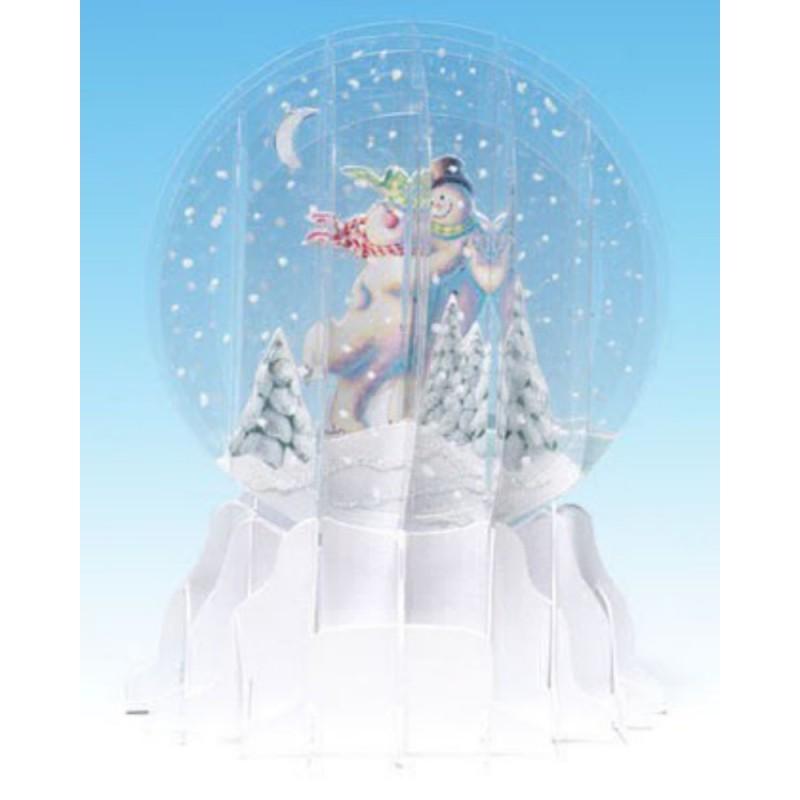 Felicitare 3D glob Om de zapada