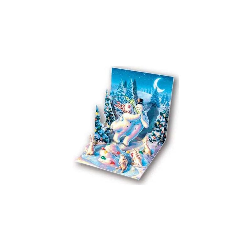 Felicitare 3D pentru iarna-Oameni de zapada dansand