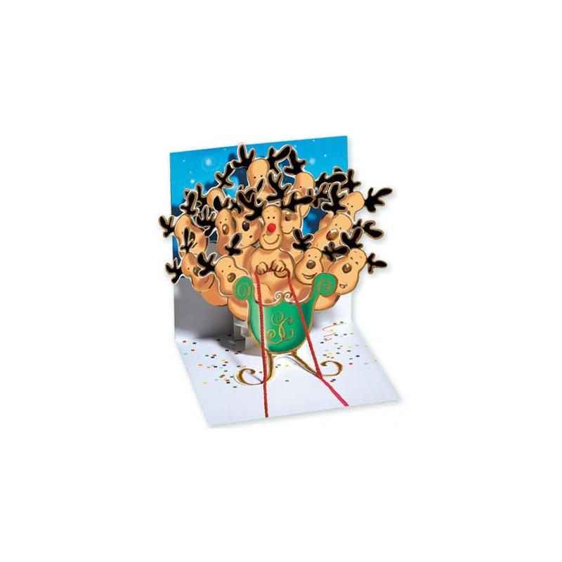 Felicitare 3D pentru iarna-Renii lui Mos Craciun