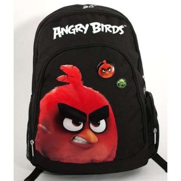 Ghiozdan Gimnaziu Angry Birds Negru cu Rosu Pigna si minge cadou