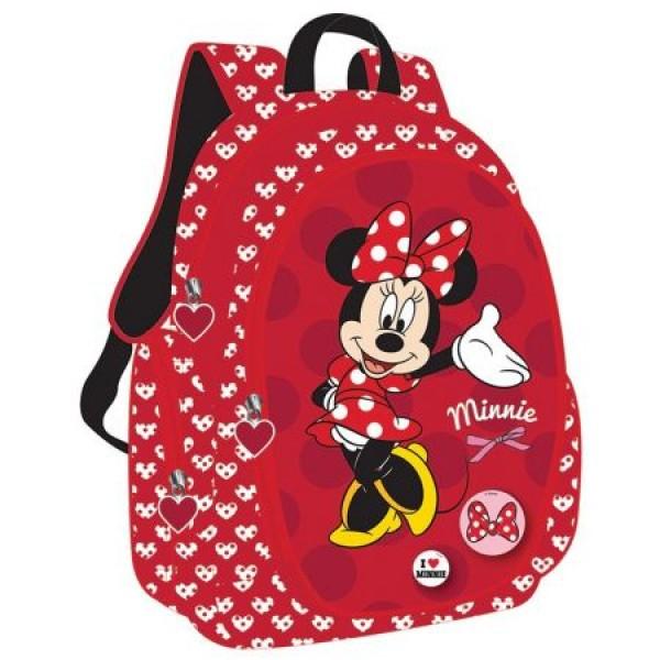 Ghiozdan Gimnaziu Minnie Mouse Rosu Pigna si minge cadou