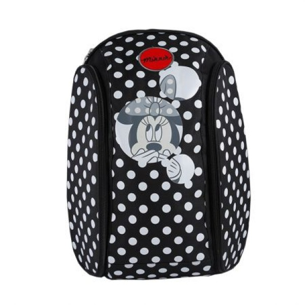 Ghiozdan gimnaziu Minnie Mouse negru cu buline albe Pigna si minge cadou