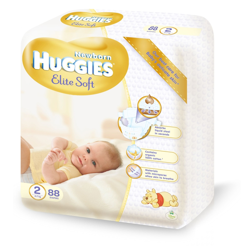 Scutece Huggies 2 Elite Soft 4-7 kg 88 buc