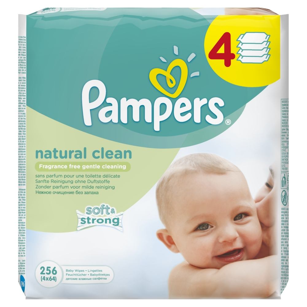 Servetele umede Pampers Natural Clean Baby 4 pachete 256 buc