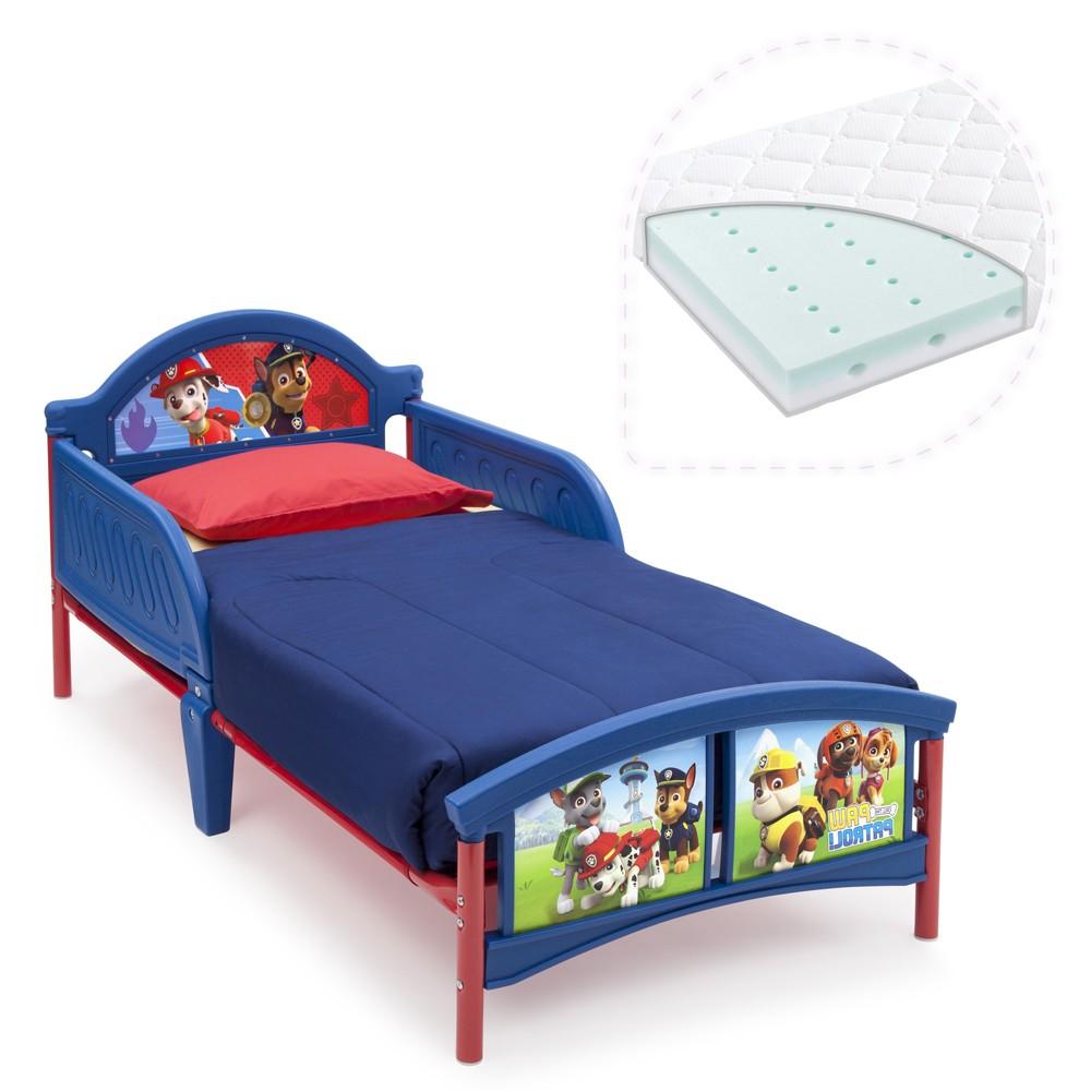 Set pat cu cadru metalic Paw Patrol si saltea pentru patut Dreamily - 140 x 70 x 10 cm