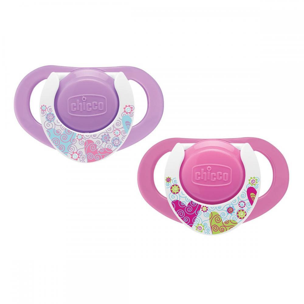 Suzeta Chicco silicon Physio Compact, forma ergonomica, 12luni+, 2buc, roz