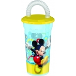 Pahar pentru copii BBS cu pai spiralat Mickey Mouse 400ml